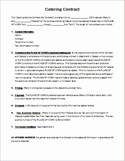 Catering Contracts Template Free Lovely Catering Contract Template for Ms Word