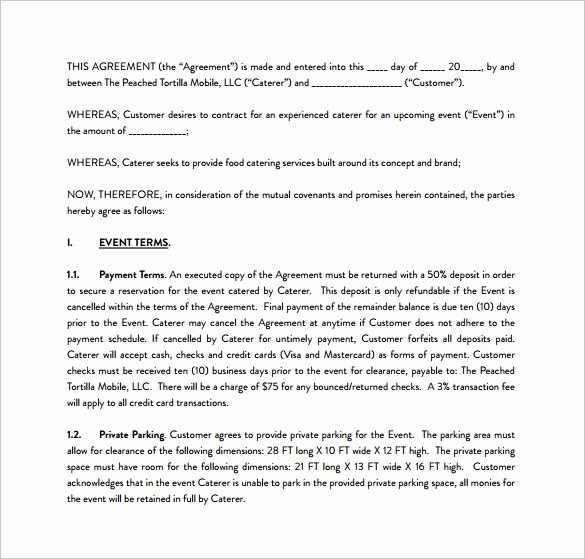 Catering Contracts Template Free Lovely Free 13 Sample Catering Contract Templates In Pdf