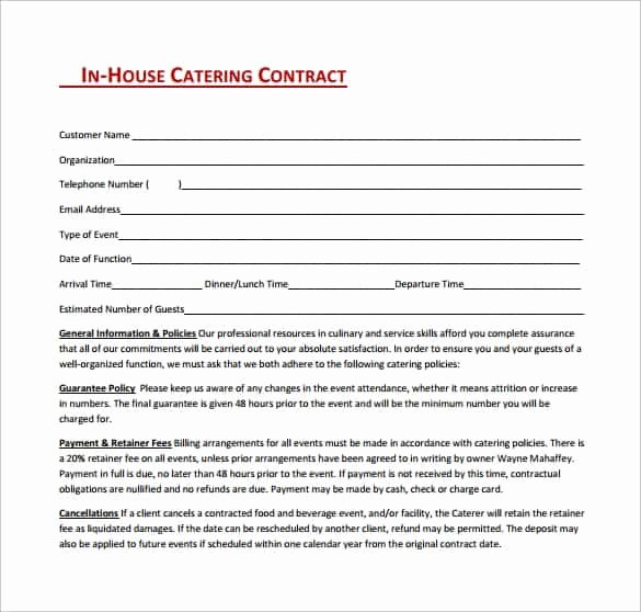 Catering Contracts Template Free Luxury Catering Contract Templates Find Word Templates