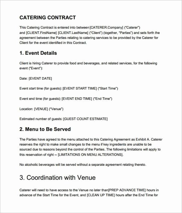 Catering Contracts Template Free Unique 6 Catering Contract Templates Word Pdf Word Excel formats