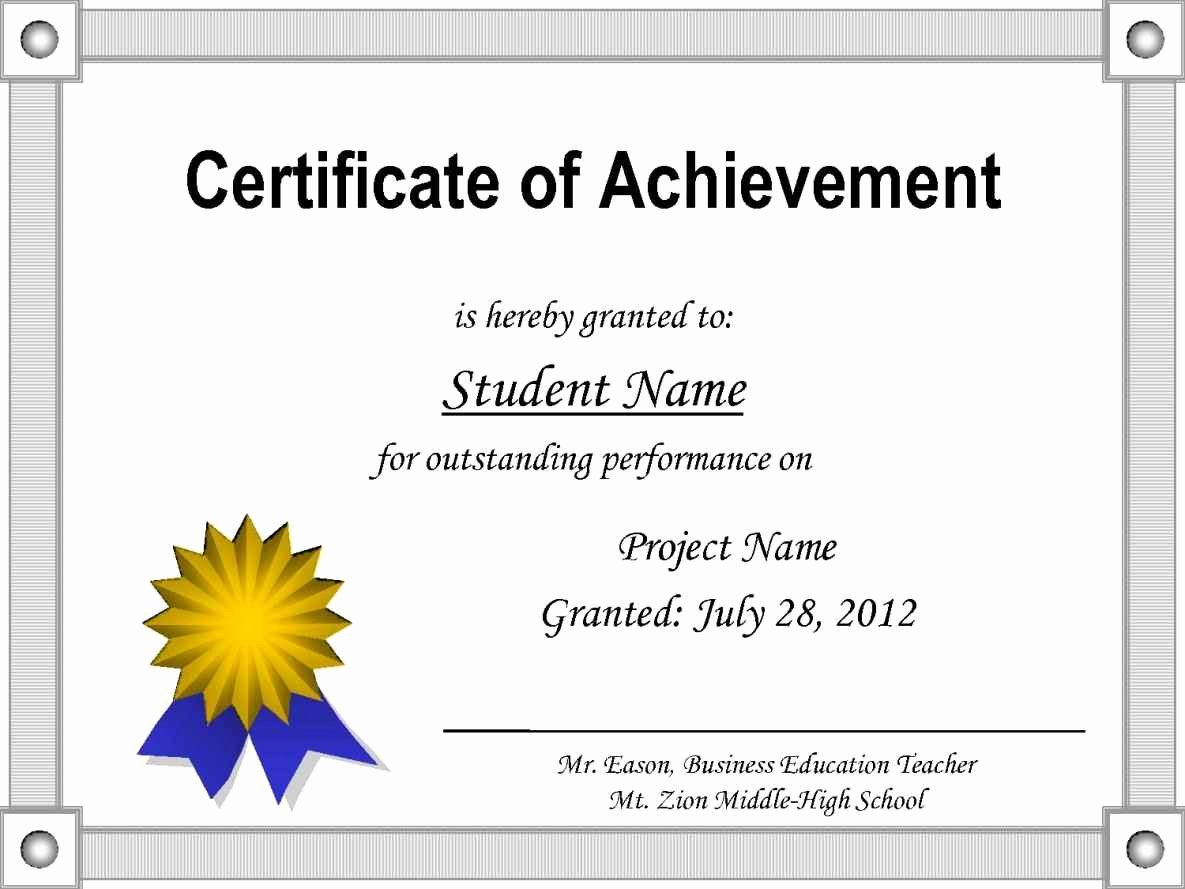 Certificate Of Accomplishment Template Awesome Editable Certificate Achievement Template Update234