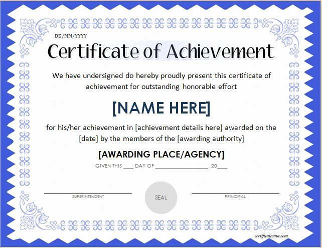 Certificate Of Accomplishment Template Best Of Docs Achievement Certificates Templates Free Certificate