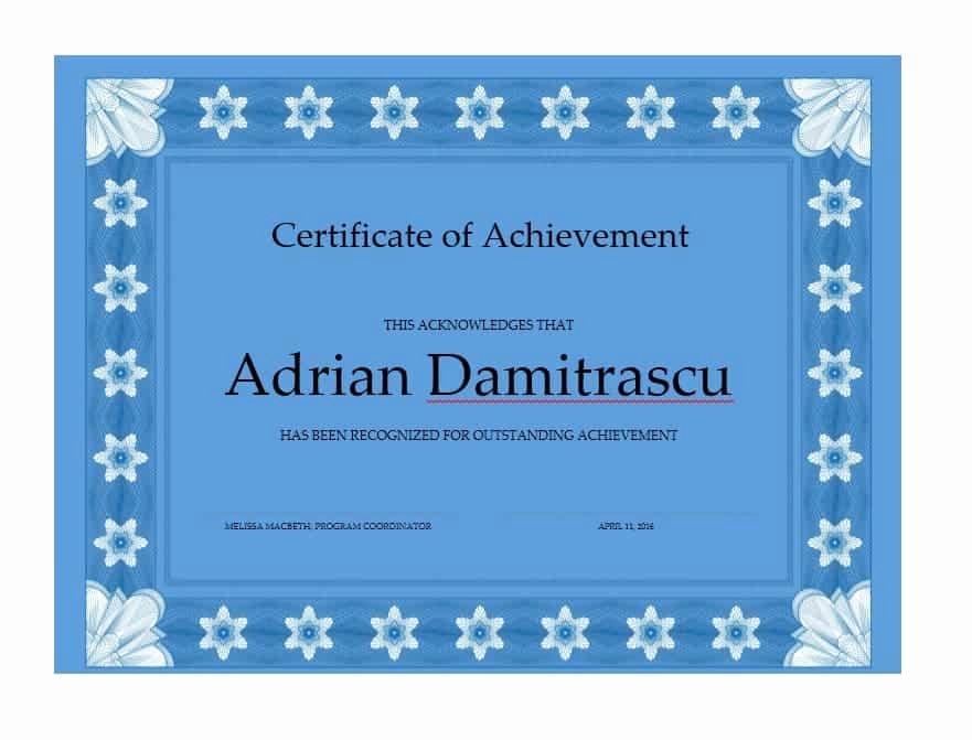 Certificate Of Accomplishment Template Elegant 40 Great Certificate Of Achievement Templates Free