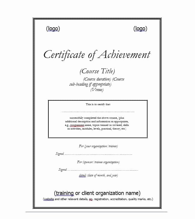Certificate Of Accomplishment Template Fresh 40 Great Certificate Of Achievement Templates Free