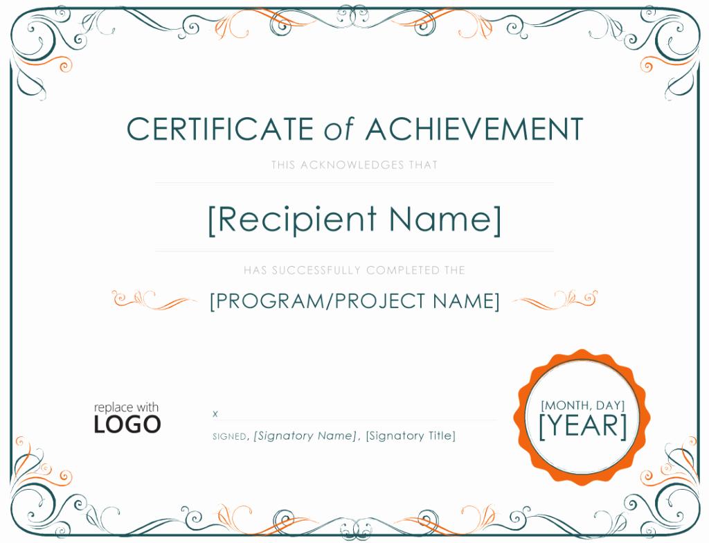 Certificate Of Accomplishment Template Inspirational Achievement Certificate Template