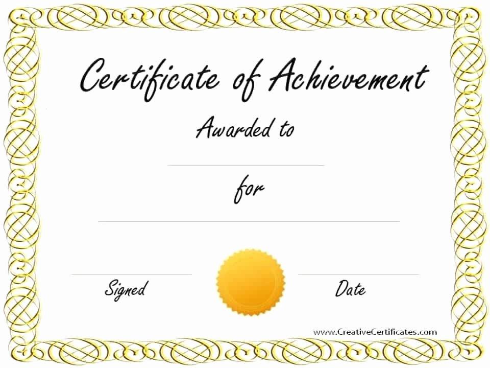 Certificate Of Accomplishment Template Inspirational Free Customizable Certificate Of Achievement