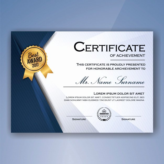 Certificate Of Accomplishment Template Lovely Certificate Achievement Vectors S and Psd Files