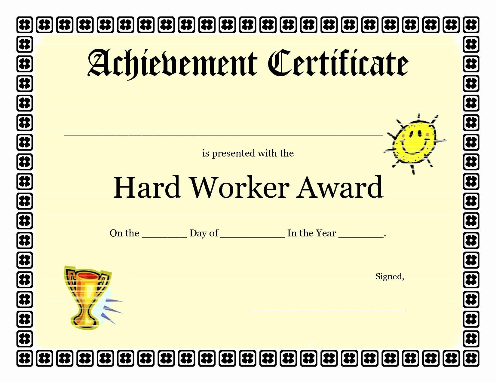 Certificate Of Accomplishment Template Luxury Printable Achievement Certificates Kids