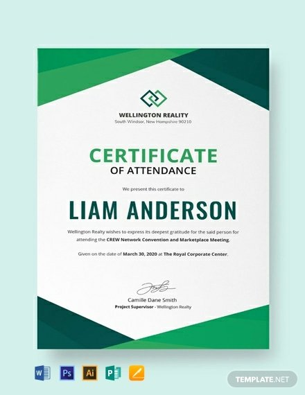 Certificate Of attendance Template Free Awesome 10 Free attendance Certificate Templates Word