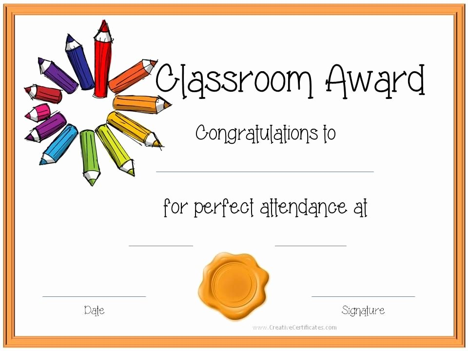 Certificate Of attendance Template Free Awesome Certificate Template for Kids Perfect attendance Award