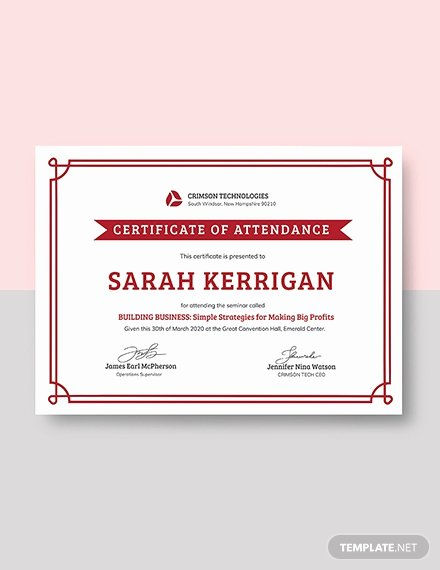 Certificate Of attendance Template Free Awesome Free School attendance Certificate Template Download 391