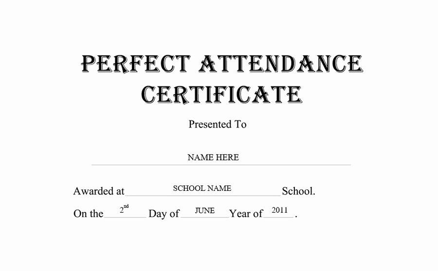 Certificate Of attendance Template Free Awesome Perfect attendance Certificate Free Templates Clip Art