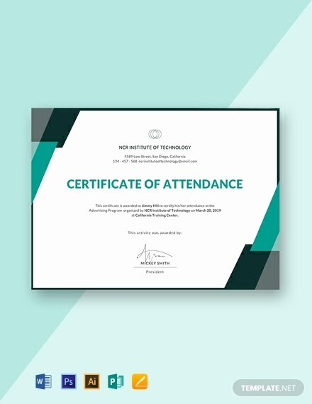 Certificate Of attendance Template Free Best Of 10 Free attendance Certificate Templates Word