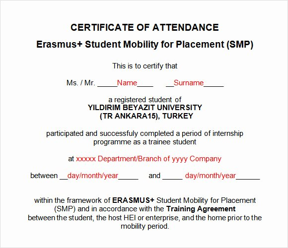 Certificate Of attendance Template Free Best Of Certificate Templates Ms Word Perfect attendance