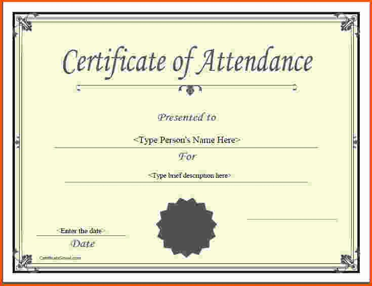 Certificate Of attendance Template Free Fresh 5 Certificate Of attendance Template