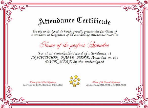 Certificate Of attendance Template Free Fresh attendance Certificate Templates