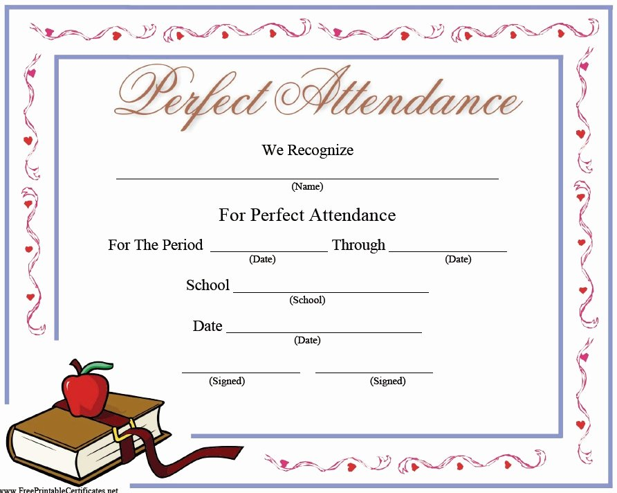 Certificate Of attendance Template Free Lovely 13 Free Sample Perfect attendance Certificate Templates