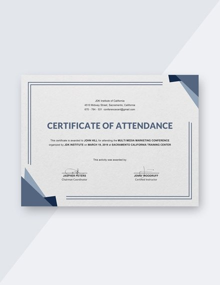 Certificate Of attendance Template Free Lovely 22 attendance Certificate Examples & Templates