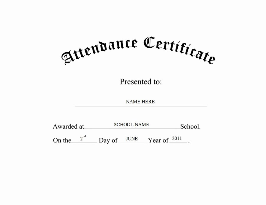 Certificate Of attendance Template Free Lovely attendance Certificate Free Templates Clip Art & Wording