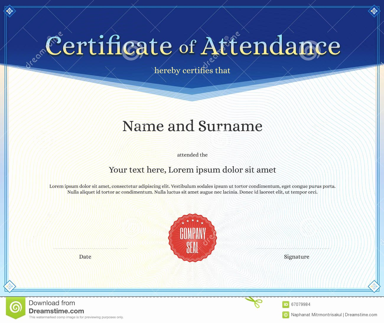 Certificate Of attendance Template Free Lovely Certificate attendance Template In Vector Stock Vector