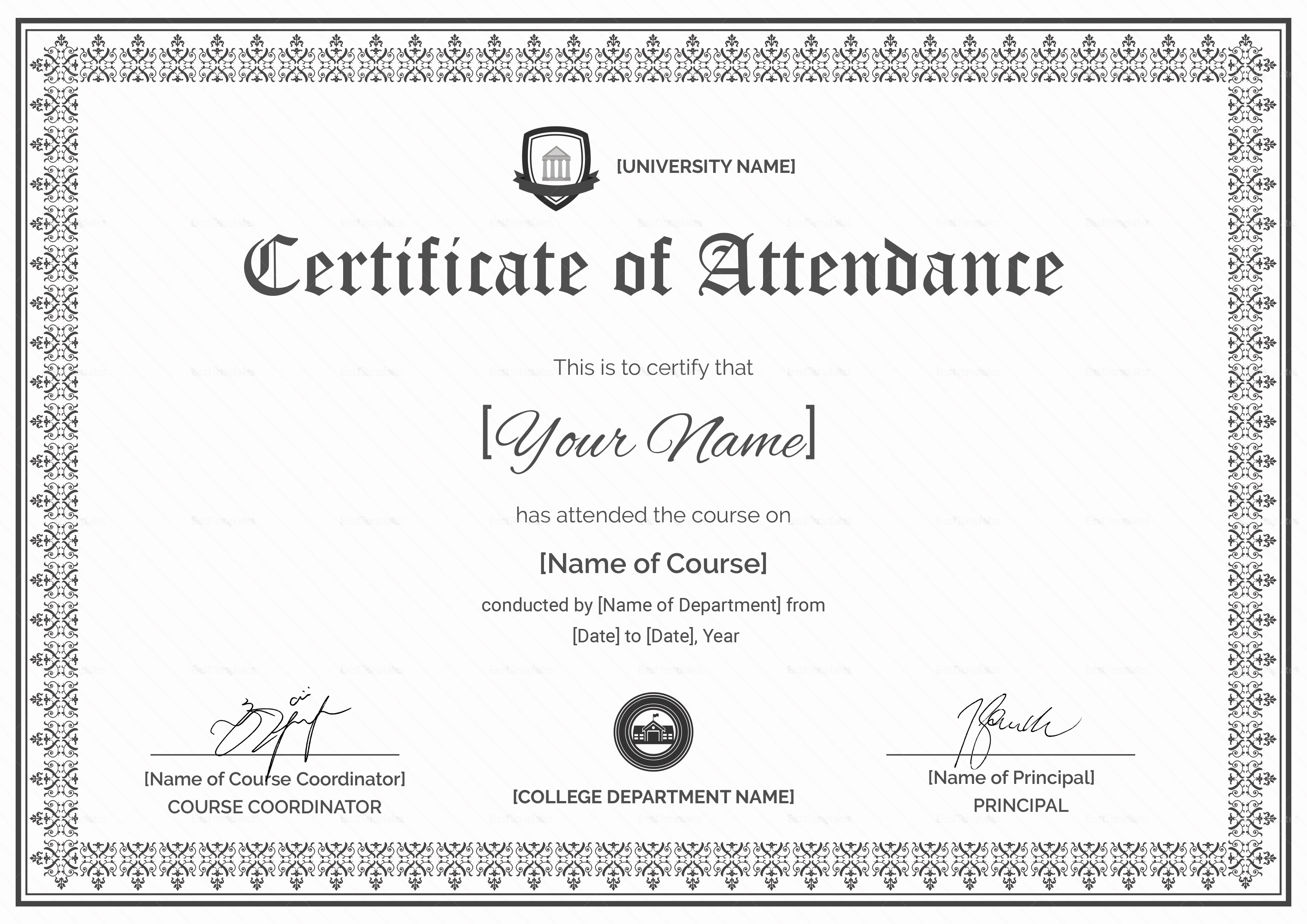 Certificate Of attendance Template Free Lovely Course attendance Certificate Design Template In Psd Word