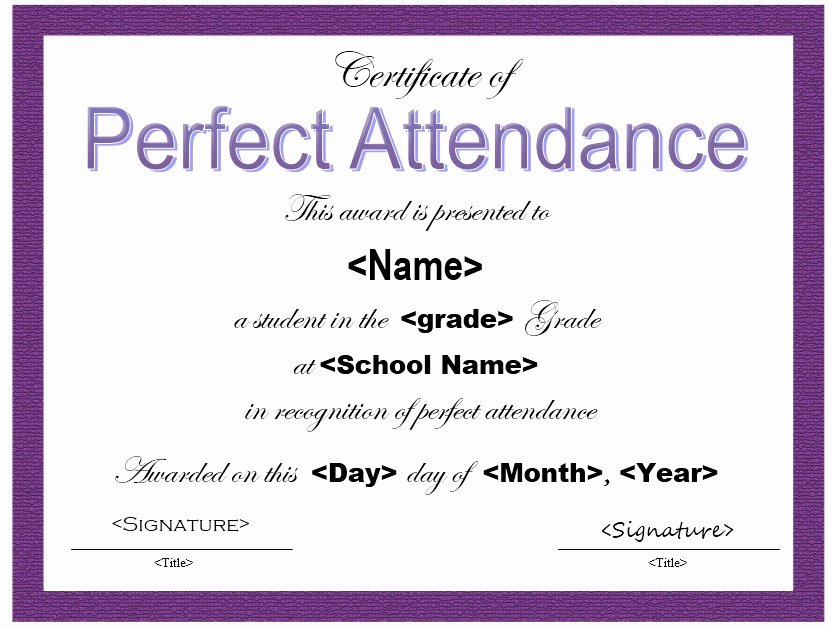 Certificate Of attendance Template Free Luxury 13 Free Sample Perfect attendance Certificate Templates