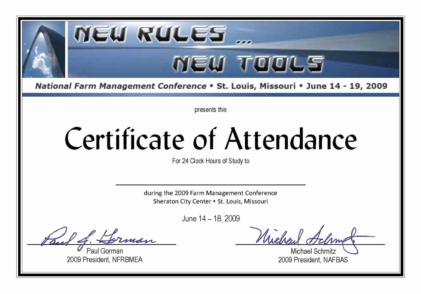 Certificate Of attendance Template Free Luxury Full attendance Certificate Template Update234