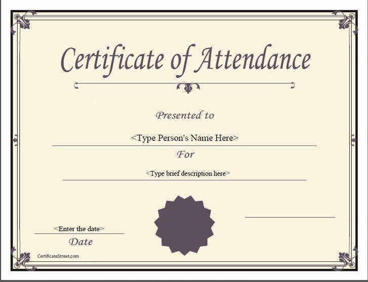 Certificate Of attendance Template Free Luxury Special Certificates attendance Certificate