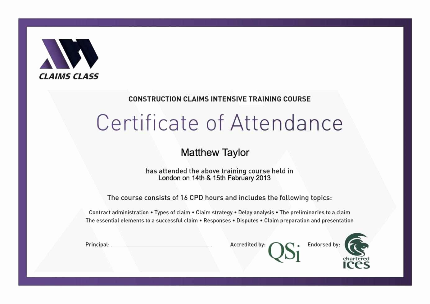 Certificate Of attendance Template Free New Certificate attendance Template Template Update234