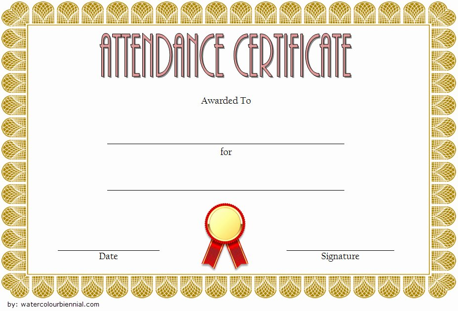Certificate Of attendance Template Free Unique 8 Printable Perfect attendance Certificate Template Designs
