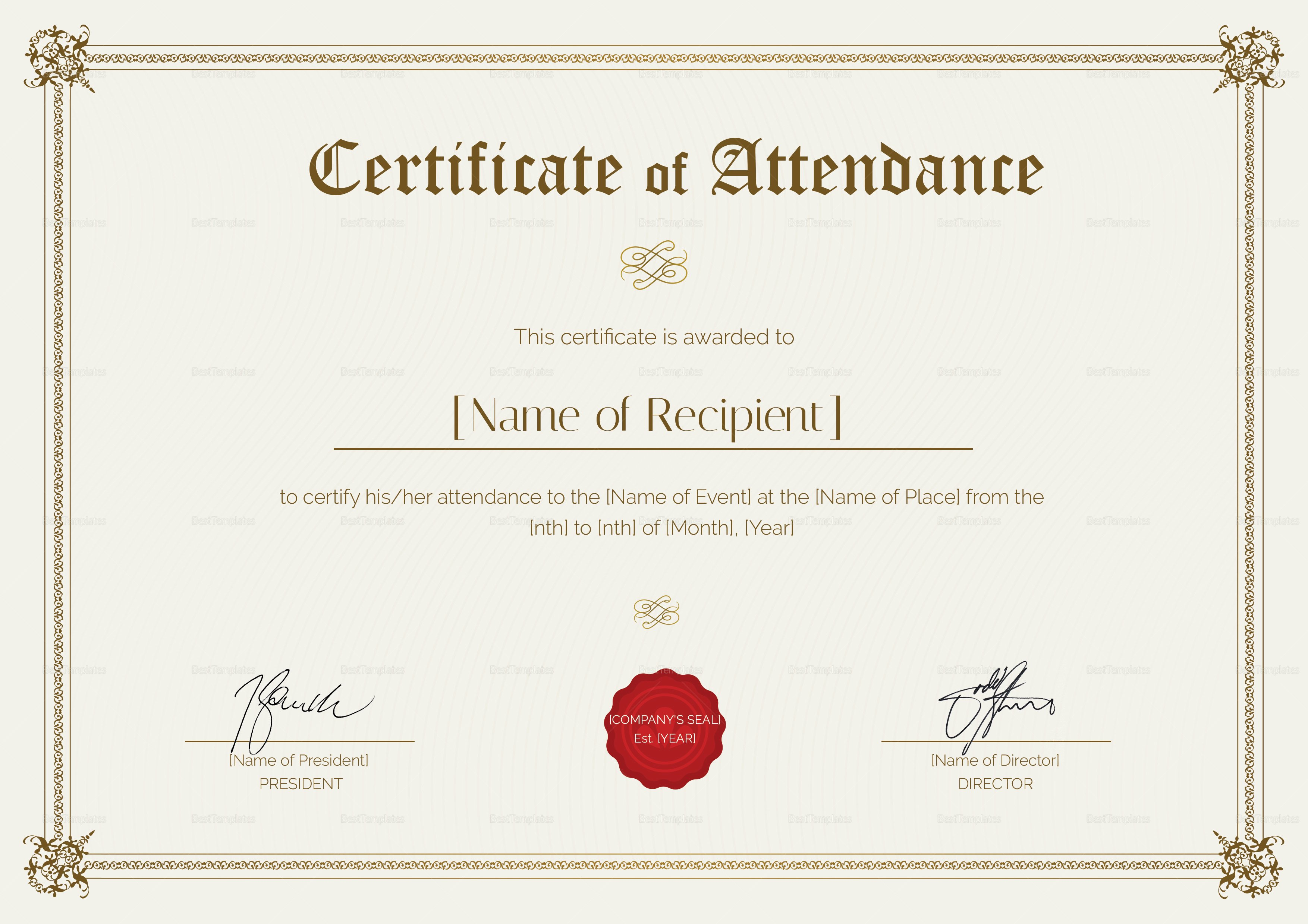 Certificate Of attendance Template Free Unique Certificate Of attendance Design Template In Psd Word