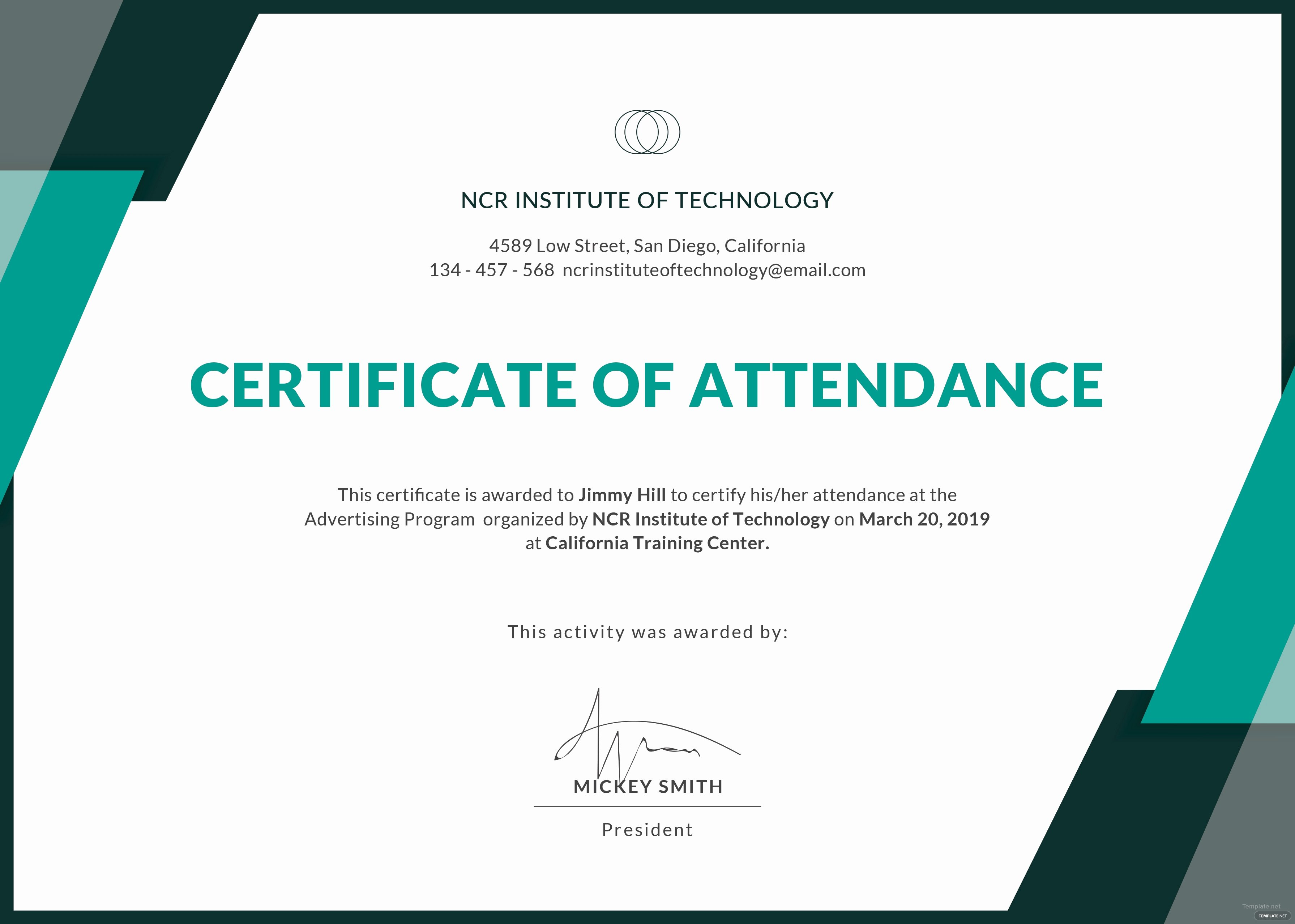 Certificate Of attendance Template Free Unique Free event attendance Certificate Template In Adobe