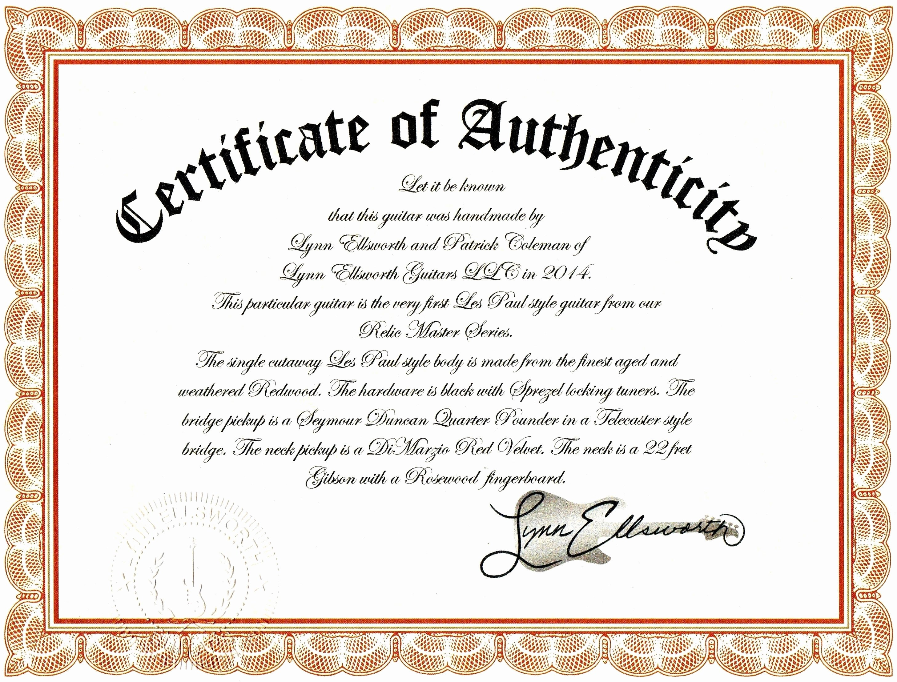 Certificate Of Authenticity Artwork Template Awesome Sample Certificate Authenticity Graphy Best