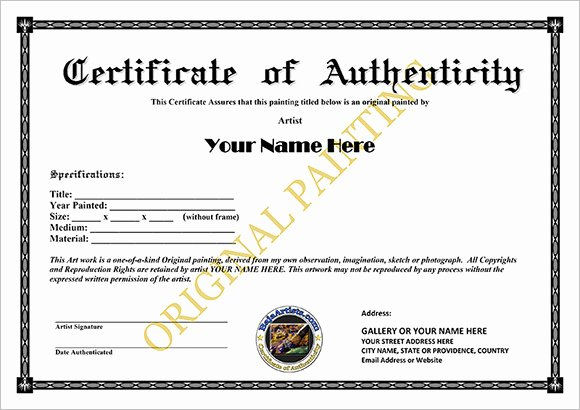 Certificate Of Authenticity Artwork Template Beautiful 16 Sample Certificate Of Authenticity Documents In Pdf Psd