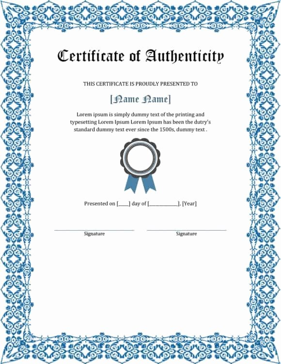 Certificate Of Authenticity Artwork Template Beautiful 37 Certificate Of Authenticity Templates Art Car