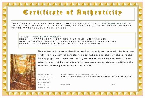 Certificate Of Authenticity Artwork Template Beautiful Certificates Of Authenticity for Artists