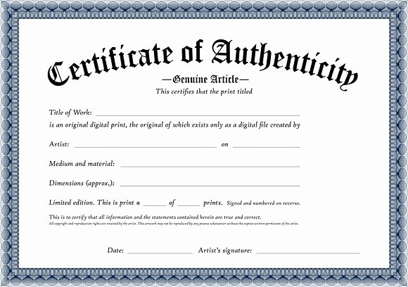 Certificate Of Authenticity Artwork Template Best Of Certificate Authenticity Template