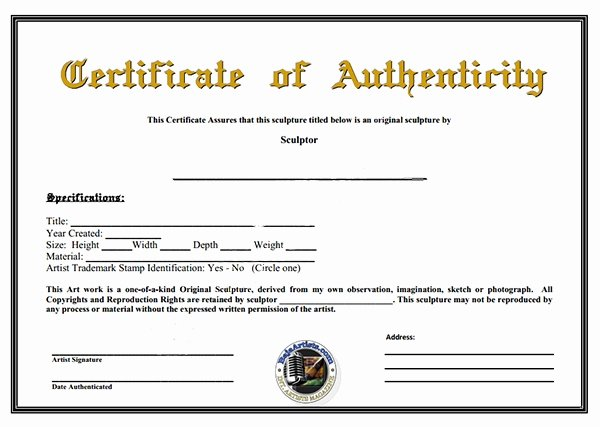 Certificate Of Authenticity Artwork Template Elegant Certificate Authenticity Template
