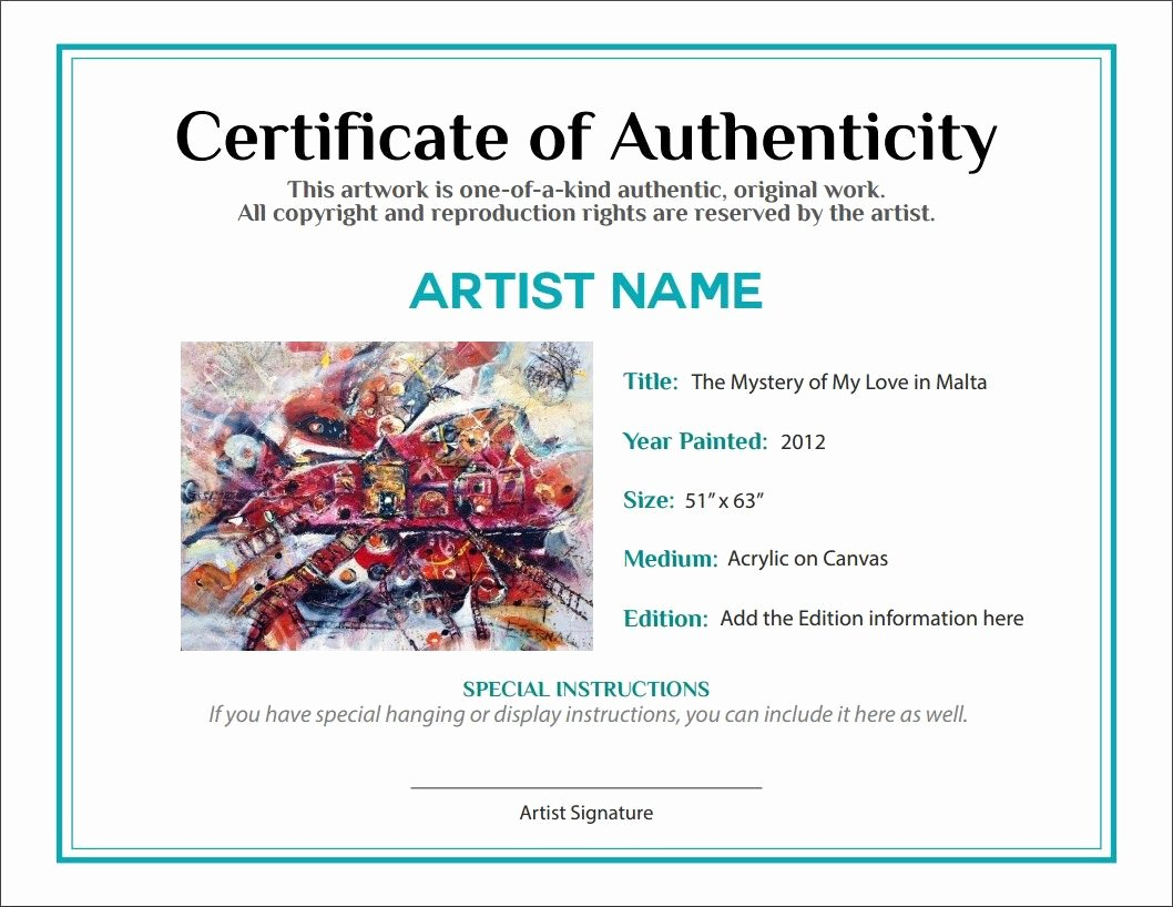 Certificate Of Authenticity Artwork Template Inspirational Bill Of Sale Certificate Of Authenticity Agora Gallery