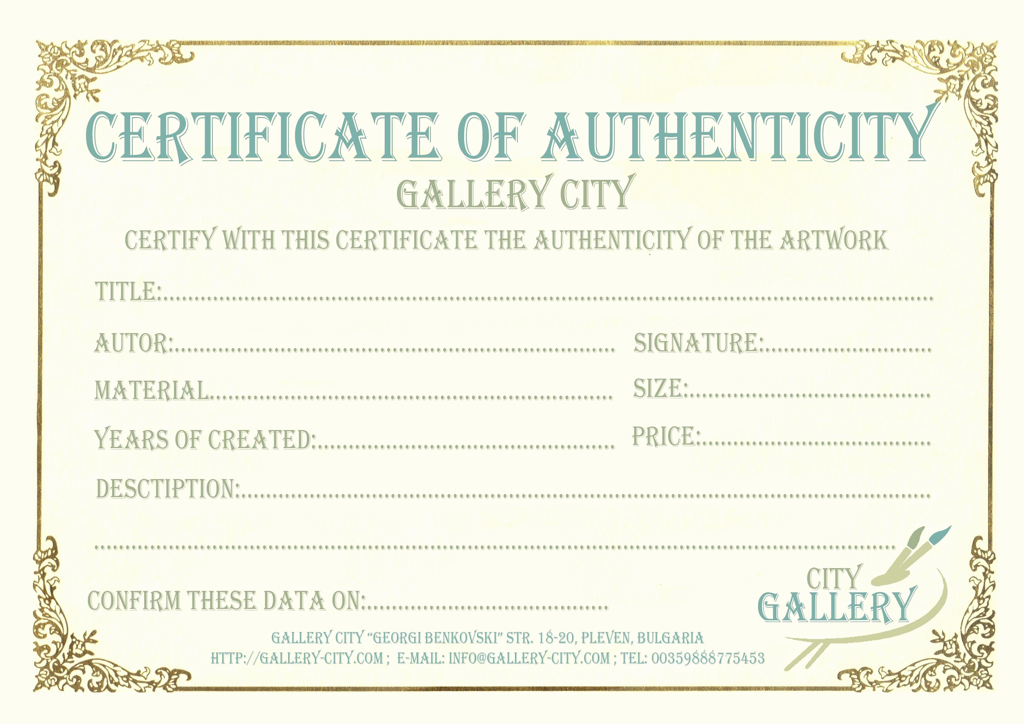 Certificate Of Authenticity Artwork Template Inspirational Certificate Authenticity Template Art Authenticity