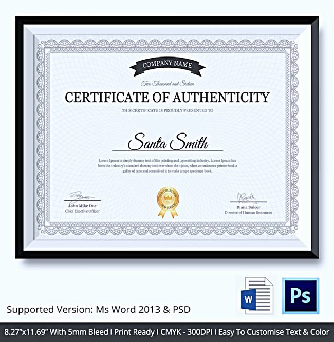 Certificate Of Authenticity Artwork Template Lovely Certificate Of Authenticity Template What Information to