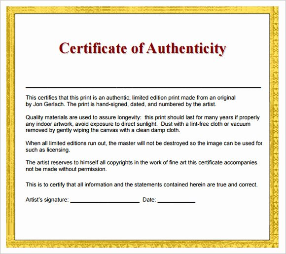Certificate Of Authenticity Artwork Template Luxury 16 Sample Certificate Of Authenticity Documents In Pdf Psd