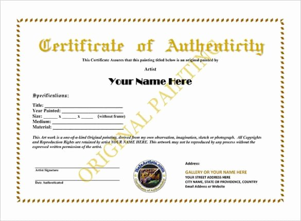 Certificate Of Authenticity Artwork Template Luxury Certificate Authenticity Templates Word Excel Samples