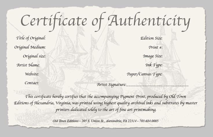 Certificate Of Authenticity Artwork Template Luxury Certificate Of Authenticity Of A Fine Art Print