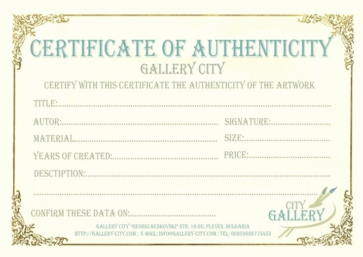 Certificate Of Authenticity Artwork Template New 7 Best Certificate Templates Images On Pinterest