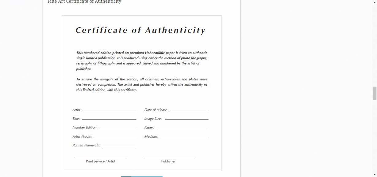 Certificate Of Authenticity Artwork Template New Certificate Authenticity Template for Fine Art