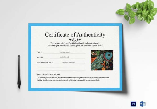 Certificate Of Authenticity Artwork Template New Certificate Of Authenticity Template 19 Free Word Pdf