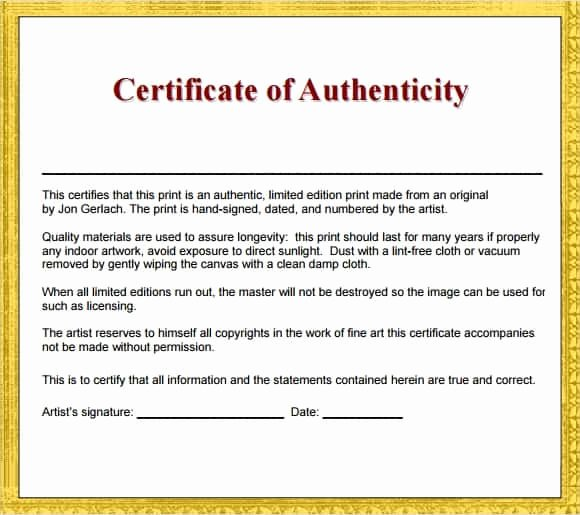 Certificate Of Authenticity Artwork Template Unique 12 Certificate Authenticity Templates Word Excel Samples