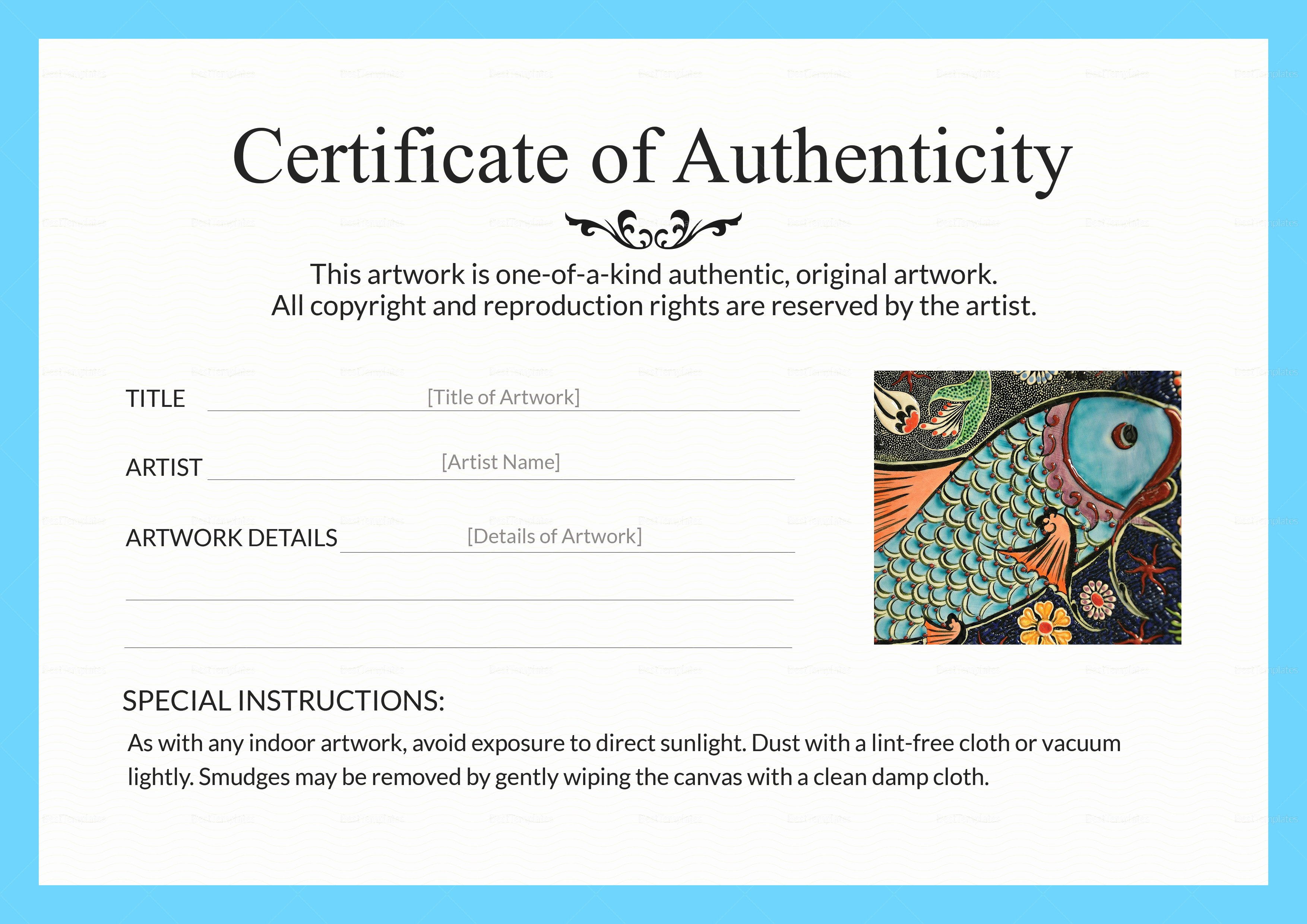 Certificate Of Authenticity Artwork Template Unique Artwork Authenticity Certificate Design Template In Psd Word