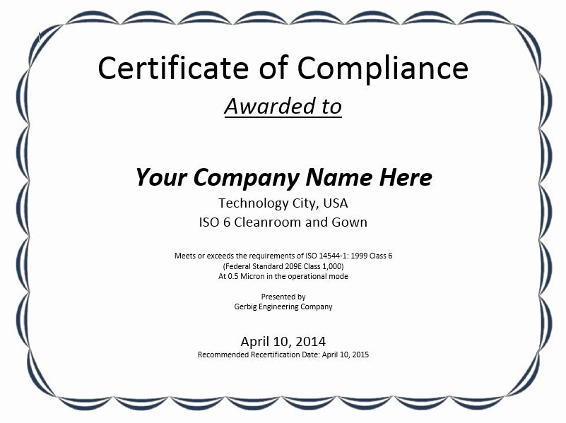 Certificate Of Conformity Template Awesome 8 Free Sample Professional Pliance Certificate
